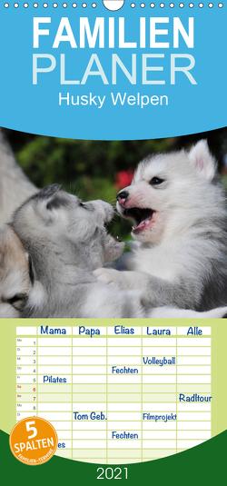 Husky Welpen – Familienplaner hoch (Wandkalender 2021 , 21 cm x 45 cm, hoch) von Ebardt,  Michael