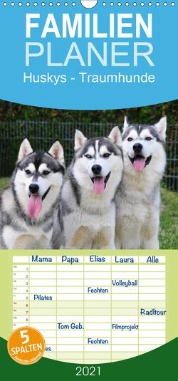 Huskys – Traumhunde – Familienplaner hoch (Wandkalender 2021 , 21 cm x 45 cm, hoch) von Ebardt,  Michael