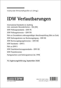 IDW, 75. Erg.-Lief. IDW Verlautbarungen September 2020