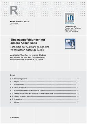 ift-Richtlinie AB-01/1 – Einsatzempfehlungen für äußere Abschlüsse von ift Rosenheim GmbH