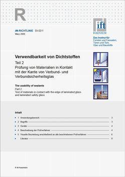 ift-Richtlinie DI-02/1 – Verwendbarkeit von Dichtstoffen Teil 2 von ift Rosenheim GmbH