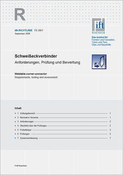 ift-Richtlinie FE-09/1 – Schweisseckverbinder von ift Rosenheim GmbH