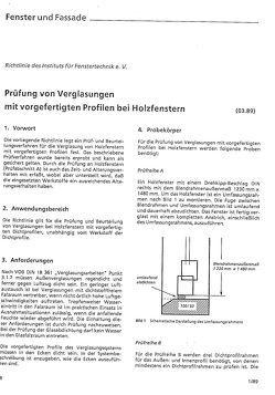 ift-Richtlinie – Prüfung von Verglasungen mit vorgefertigten Profilen bei Holzfenstern (derzeit in Überarbeitung) von ift Rosenheim GmbH