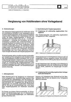 ift-Richtlinie – Verglasung von Holzfenstern ohne Vorlegeband von ift Roseneheim GmbH