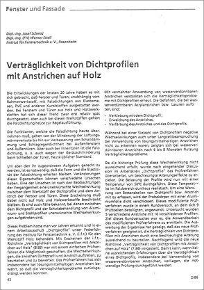 ift-Richtlinie – Verträglichkeit von Dichtprofilen mit Anstrichen auf Holz von ift Rosenheim GmbH
