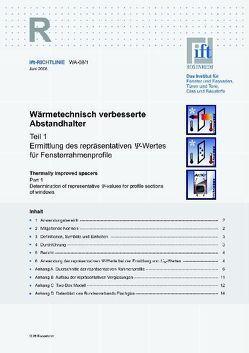 ift-Richtlinie WA-08/1 – Wärmetechnisch verbesserte Abstandhalter. von ift Rosenheim GmbH