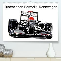 Illustrationen Formel 1 Rennwagen (Premium, hochwertiger DIN A2 Wandkalender 2021, Kunstdruck in Hochglanz) von Kraus,  Gerhard