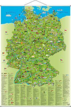 Illustrierte Deutschlandkarte zum Aufhängen von Krüger,  Dirk, Schönhoff,  Doris