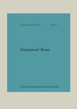 Immanuel Kant von von der Gablentz,  Otto Heinrich