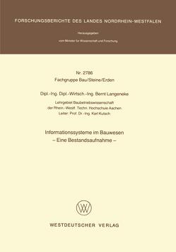 Informationssysteme im Bauwesen von Langeneke,  Bernt