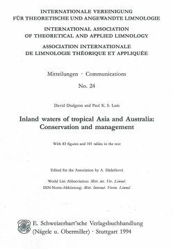 Inland waters of tropical Asia and Australia von Dudgeon,  David, Lam,  Paul K, Sládecková,  A