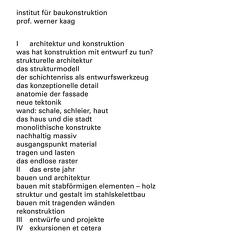 Institut für Baukonstruktion von Kaag,  Werner