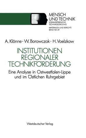 Institutionen regionaler Technikförderung von Borowczak,  Winfried, Klönne,  Arno, Voelzkow,  Helmut