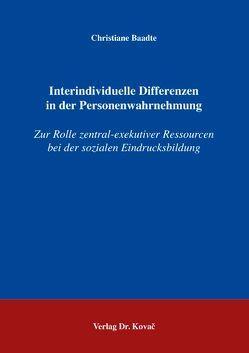 Interindividuelle Differenzen in der Personenwahrnehmung von Baadte,  Christiane