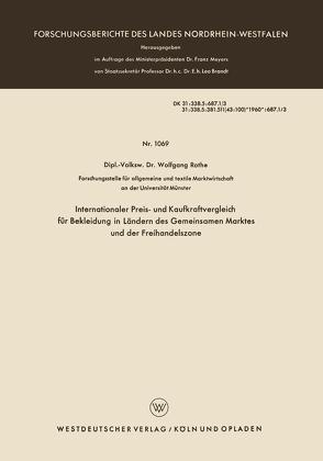 Internationaler Preis- und Kaufkraftvergleich für Bekleidung in Ländern des Gemeinsamen Marktes und der Freihandelszone von Rothe,  Wolfgang