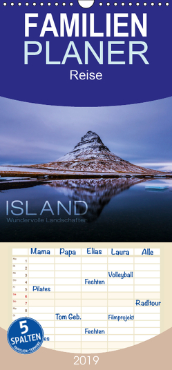 Island – Wundervolle Landschaften – Familienplaner hoch (Wandkalender 2019 , 21 cm x 45 cm, hoch) von Paul Kaiser,  Frank