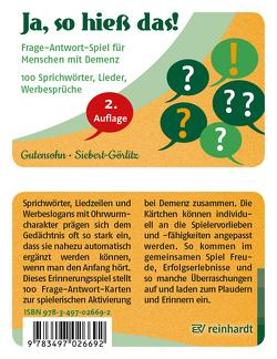 Ja, so hieß das! von Gutensohn,  Stefan, Siebert-Görlitz,  Antje
