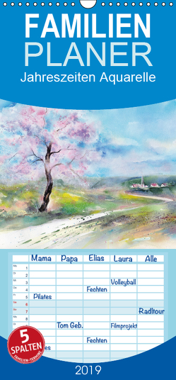 Jahreszeiten Aquarelle – Familienplaner hoch (Wandkalender 2019 , 21 cm x 45 cm, hoch) von Krause,  Jitka