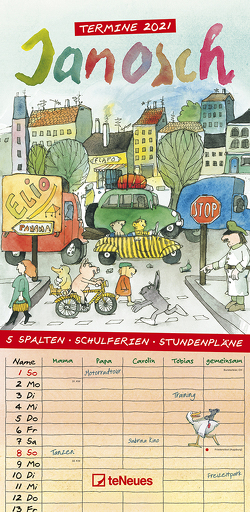 Janosch 2021 Familienplaner – Familien-Timer – Termin-Planer – Kinder-Kalender – Familien-Kalender – 22×45