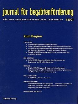 journal für begabtenförderung 1/2001 von journal für begabtenförderung