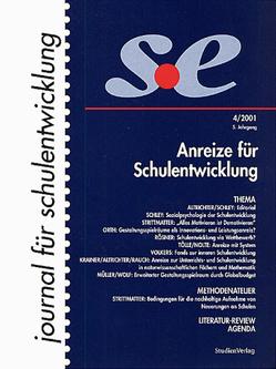 journal für schulentwicklung 4/2001 von journal für schulentwicklung
