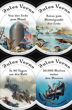 Jules Verne – Romane (20.000 Meilen unter den Meeren – In 80 Tagen um die Welt – Reise zum Mittelpunkt der Erde – Von der Erde zum Mond) von Verne,  Jules