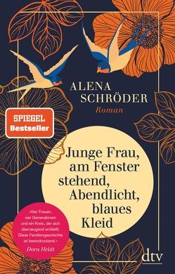Junge Frau, am Fenster stehend, Abendlicht, blaues Kleid von Schröder,  Alena