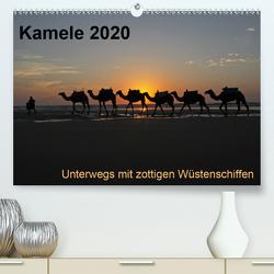 Kamele 2020 – Unterwegs mit zottigen WüstenschiffenCH-Version (Premium, hochwertiger DIN A2 Wandkalender 2020, Kunstdruck in Hochglanz) von Weber,  Melanie
