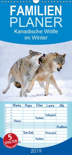 Kanadische Wölfe im Winter – Familienplaner hoch (Wandkalender 2019 , 21 cm x 45 cm, hoch) von Weber,  Michael