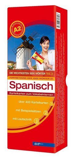 Karteikarten Die wichtigsten 1000 Wörter Spanisch, Fortsetzung (Niveau A2)