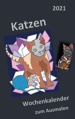 Katzen Ausmalkalender 2021 von Molina,  Danita