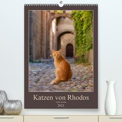 Katzen von Rhodos (Premium, hochwertiger DIN A2 Wandkalender 2021, Kunstdruck in Hochglanz) von Menden,  Katho