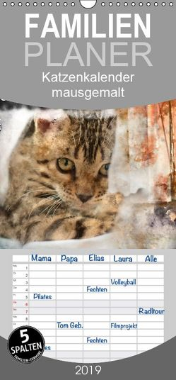 Katzenkalender mausgemalt – Familienplaner hoch (Wandkalender 2019 , 21 cm x 45 cm, hoch) von Banker,  Sylvio