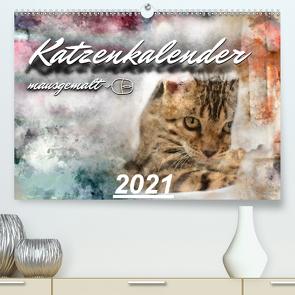 Katzenkalender mausgemalt (Premium, hochwertiger DIN A2 Wandkalender 2021, Kunstdruck in Hochglanz) von Banker,  Sylvio