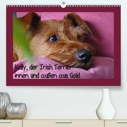 Kelly, der Irish Terrier – innen und außen aus Gold (Premium, hochwertiger DIN A2 Wandkalender 2020, Kunstdruck in Hochglanz) von Schimon,  Claudia