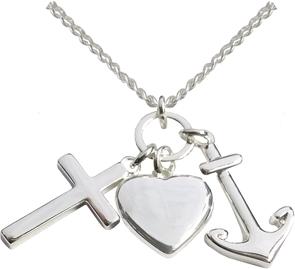 Kette – Halskette mit Kreuz-, Herz- und Ankeranhänger (versilbert)