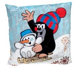 Kissen Der kleine Maulwurf mit Schneemann