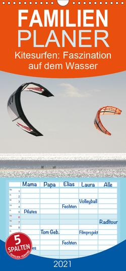 Kitesurfen – Faszination auf dem Wasser – Familienplaner hoch (Wandkalender 2021 , 21 cm x 45 cm, hoch) von Peitz,  Martin