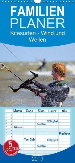 Kitesurfen – Wind und Wellen – Familienplaner hoch (Wandkalender 2019 , 21 cm x 45 cm, hoch) von Bleicher,  Renate