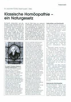 Klassische Homöopathie – Ein Naturgesetz von Grätz,  Joachim F