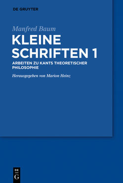 Kleine Schriften I von Baum,  Manfred, Heinz,  Marion