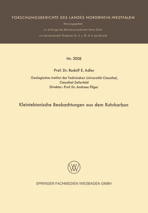 Kleintektonische Beobachtungen aus dem Ruhrkarbon von Adler,  Rudolf E.