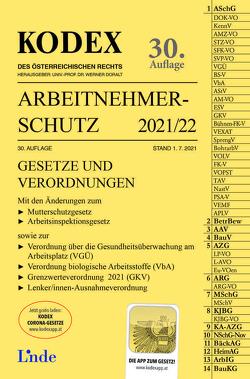 KODEX Arbeitnehmerschutz 2021/22 von Doralt,  Werner, Marat,  Eva-Maria