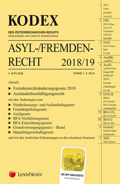 KODEX Asyl- und Fremdenrecht 2018/19 von Doralt,  Werner, Grosinger,  Walter