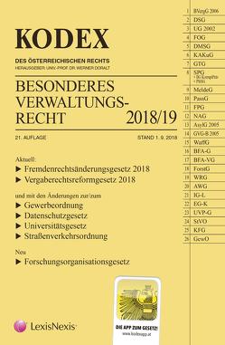 KODEX Besonderes Verwaltungsrecht 2018/19 von Doralt,  Werner, Ennöckl,  Daniel