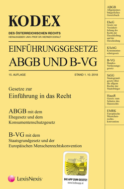 KODEX Einführungsgesetze ABGB und B-VG 2018/19 von Doralt,  Werner