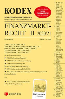 KODEX Finanzmarktrecht Band II 2020/21 von Doralt,  Werner, Egger,  Bernhard
