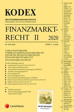 KODEX Finanzmarktrecht Band II 2020 von Doralt,  Werner, Egger,  Bernhard