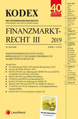 Kodex Finanzmarktrecht Band III 2019 von Doralt,  Werner, Egger,  Bernhard