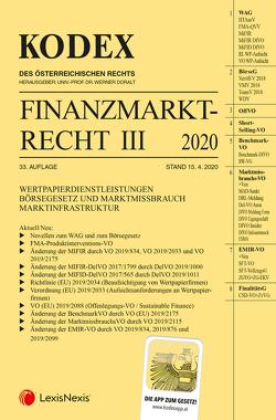 Kodex Finanzmarktrecht Band III 2020 von Doralt,  Werner, Egger,  Bernhard